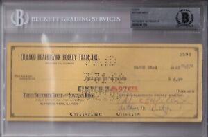 BECKETT ARTHUR WIRTZ SIGNED 1962 CHICAGO BLACKHAWKS OFFICIAL CHECK #5597