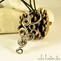 Mba Handmade German Silver Hammered Pendant Wire Wrapped Unisex Necklace