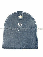 BLUE DENIM CD CASE WITH DIAMANTE FLOWER DESIGN HOLDS 12 DVDS OR CONSOLE GAMES