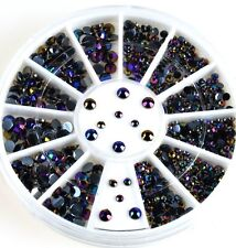 300pcs 3D Nail Art Tips Glitter Crystal Black AB Rhinestone Decoration Wheel