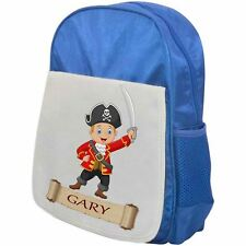 Personalised Childrens Pirate Backpack - Pirate Boy 1 - School Bag - Blue