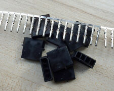 10 sets Black DIY PC Power Connector 4P 4 Pin Male Molex Mod Crimp Plug Pins Pin