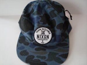 NIXON Team Designed Trucker Snapback Hat Blue Woodland Camo Cap