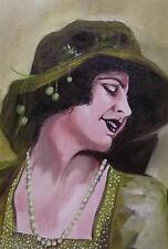 Dipinto originale olio su tela ritratto da Gregory Tillett: Emerald LADY