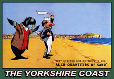 La costa de Yorkshire tren viaje tales cantidades de arena carril cartel impresión