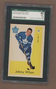 1959-60 Parkhurst Hockey # 13 Maple Leafs John Wilson SGC 7.5 NM+