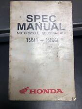 Honda Spec Manual Motorcycle Scooter Atv 1991-1999