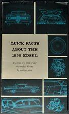1959 Edsel Quick Facts Brochure Corsair Ranger Villager Wagon Nice Original 59