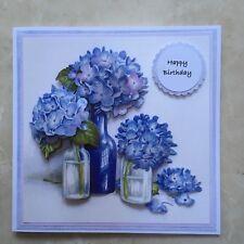 "Handmade Happy Birthday card 3D decoupage blue hydrangea flowers in vases 6"""