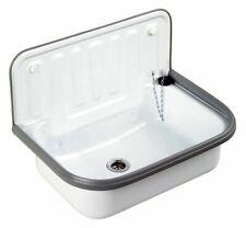 Ausgussbecken aus Stahl weiß Spülbecken Waschbecken | B-Ware