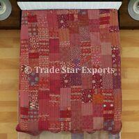 Indian Kantha Quilt Reversible Bedding Throw Ethnic Queen Patchwork Bedspread