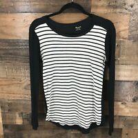 Madewell Women's Black And White Stripe Long Sleeve Round Hem 100% Cotton Top