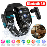 Bluetooth Smart Watch Band w/ Wireless Earbuds Earpiece Headset for Android IOS