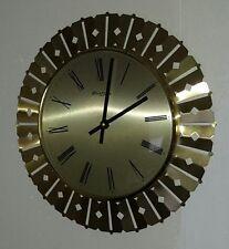 alte Uhr Wanduhr 60er/70er Jahre Uhr Brass Messing Glas Richter Quartz Vintage
