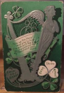 Irish PC Dear Irish Memories Erin Go Bragh ST PATRICKS DAY Harp Shamrocks 1909