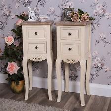 Pair Of Slim Bedside Cream Bedside Tables Ornate Bedroom Shabby Vintage Chic
