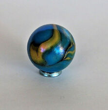 ? Vintage Toy Marble blue with yelow swirl ? Peltier, Akro Agate, Christens