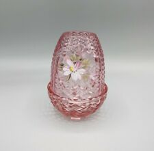 Vintage Fenton Pink Glass Fairy Lamp Hand Painted Floral Design Signed