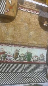 Hot Cocoa Bar Spoons & Sprinkles Hot Chocolate Cotton Fabric APRON Panel  #27594