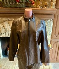 """NOLAN MILLER"" LEATHER FULLY LINED JACKET W/FLORAL CUT-OUT DETAIL SZ L FABULOUS!"