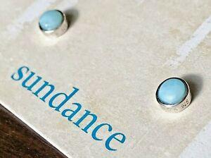 """NEW $78 Sundance 1/4"""" Rare Blue LARIMAR Sterling Silver Post Stud Dot Earrings"""