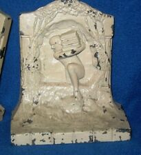 Vintage Cast Bookend Pair Naked Male Carrying Books Thru Portal (Gr Mythology?)