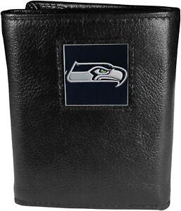 Siskiyou Sports NFL Seattle Seahawks Mens Leather Tri-fold Wallet