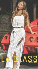 Mesh Wrap Pants and Ruffle Top - 2-Piece Swimsuit Coverup in Ivory - SMALL
