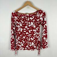 Portmans Womens Top Medium Stretch Fitted Red Floral Long Sleeve Boat Neck