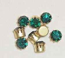 25 Swarovski Vtg Round 6mm Emerald Preset Craft Repair Rhinestones