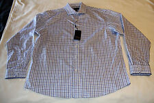 Blaq Mens Blue Check Tailored Fit Pure Cotton Long Sleeve Shirt Size 44 New
