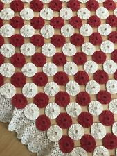 Victorian 1800s Quilt Bed Throw Red White Rosettes Vintage Lace Hand Sewn Dowry