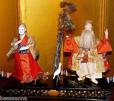 Antique Gofun Asian Japanese Aged Man and Woman Wedding Doll w Bird  DA4161420mm