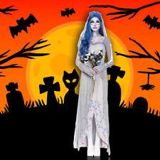 1 Set Halloween Party Corpse Wedding Dress Cosplay Bride Costume For Women Gray