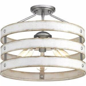 Progress Lighting Gulliver 17 in. 3-Light Galvanized Coastal Ceiling Light