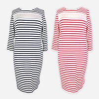 Womens Ladies Striped Long Sleeve Work Smart Evening Bodycon T Shirt Dress