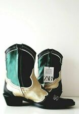 Zara Leather Cowboy Boots UK3 EUR36 US6