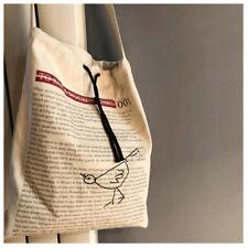 Natural Cotton Canvas Drawstring Eco Shopping Tote Messenger Bag Print English S