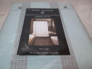 Hotel Balfour HB Cotton Shower Curtain 72x72 ~ Seafoam Aqua & Silver Gray Stripe