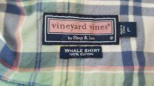 Vineyard Vine Shep & Ian Whale Shirt Men L 100% Cotton Button Plaid Long Sleeve