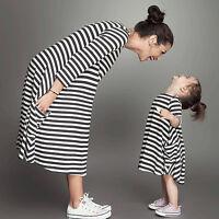 Mutter&Tochter Damen Mädchen Outfit Streifen Freizeit Kleid Homewear Shirtkleid