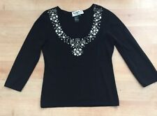 Black Beaded Top, 3/4 Sleeve; Multicolored Jewels On Front; MEDIUM JOSEPH A