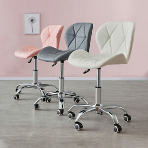 Swivel PU Leather Cushioned Chair Computer Office Desk with Wheels Modern Home
