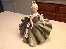 Vintage Porcelain Lady Figure Planter Dancing Green and White gown Very Pretty