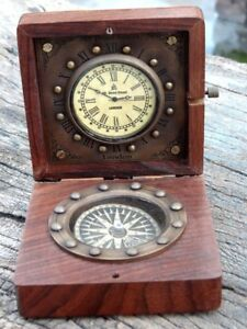 Antique Brass Nautical Compass And Watch With Wooden Box Or Brass Gift
