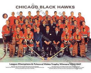 1966-67 CHICAGO BLACKHAWKS 8X10 TEAM PHOTO HOFs HALL HULL MIKITA PILOTE ESPOSITO