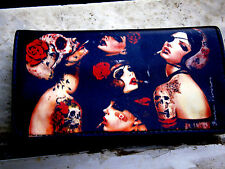 TATTOO SKULL & ROSE GIRLS ROLLING TOBACCO POUCH CASE WALLET ROCK & ROLL GOTH