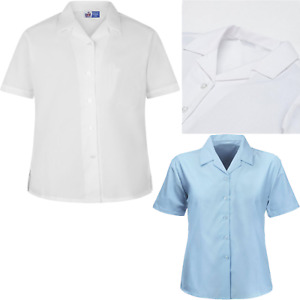 Ladies Girls Revere Collar Shirt Short Sleeve Blouse School Shirt White Sky Blue
