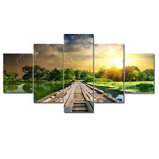 Framed Large Canvas Print Painting Picture Home Decor Art Landscape Bridge Green