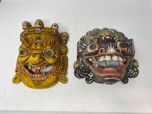 LOT of 2 Nepalese Bhairab Wooden Mask Hand Carved Painted Skulls Mahakala